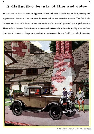 1930 Ford Sport Coupe Advertising Art by Michael Kessel