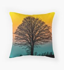 Sunset On One Tree Hill Throw Pillow