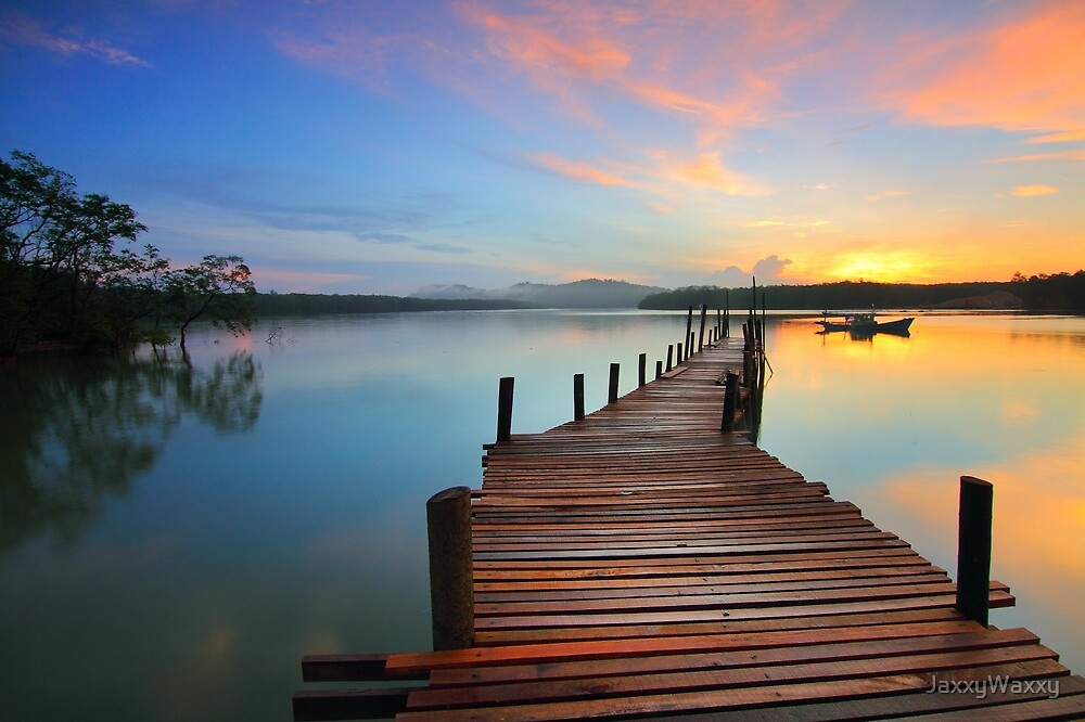 Beautiful Dock Bridge Sunset by JaxxyWaxxy