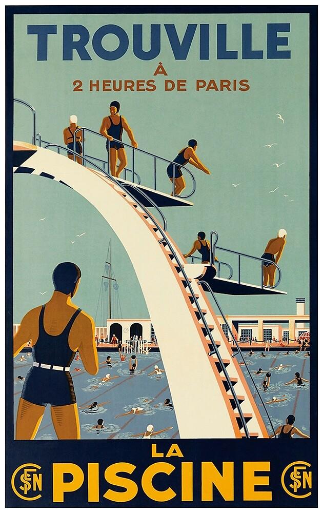 Trouville, France Vintage Travel Poster by vintagevivian