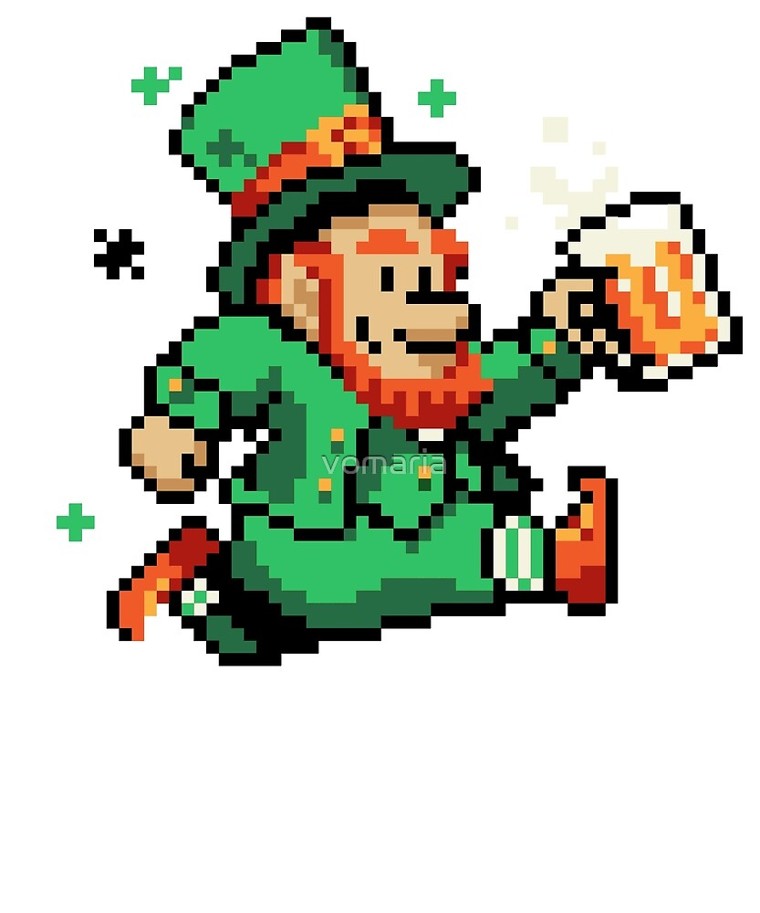 Leprechaun St Patricks Day Green Shirt Pixel Art Gamer Shirt by vomaria