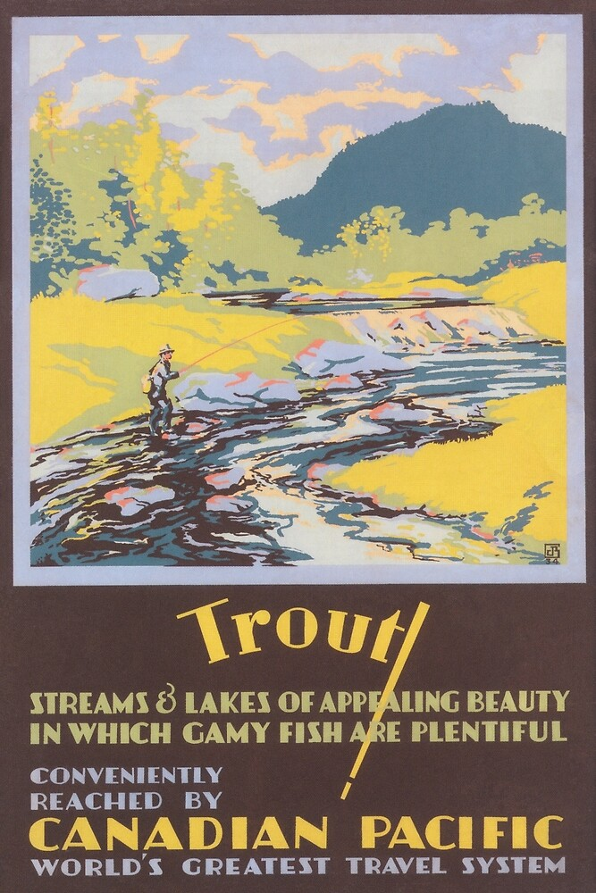 Trout Fishing in Canada Vintage Travel Poster by vintagevivian
