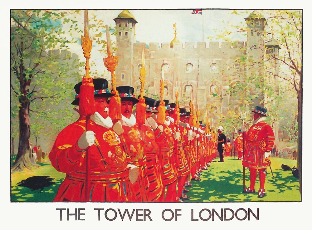 Tower of London, England Vintage Travel Poster by vintagevivian