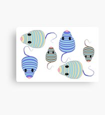Darlene's Blue and Brown Mouses Canvas Print