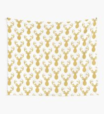 Mounted Deer Gold Wall Tapestry