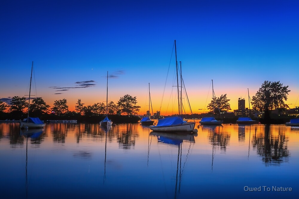 Sailboats in a Blue Sunset by Owed To Nature