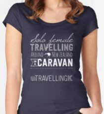 SOLO FEMALE TRAVELLING AROUND NEW ZEALAND IN A CARAVAN Women's Fitted Scoop T-Shirt