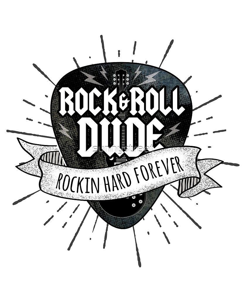 Rock And Roll Dude Grunge Guitar Pick by SunnyStreet