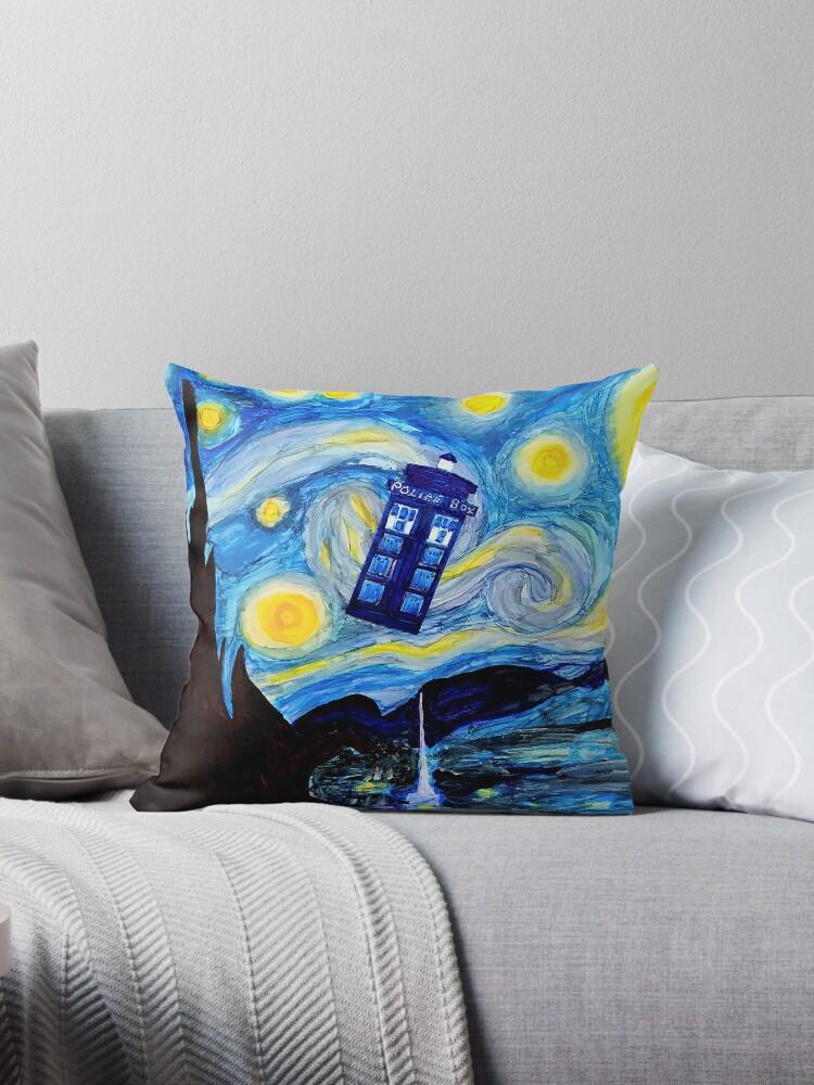 Interpretation of Dr. Who Tardis on Starry Night by Marcella Chapman