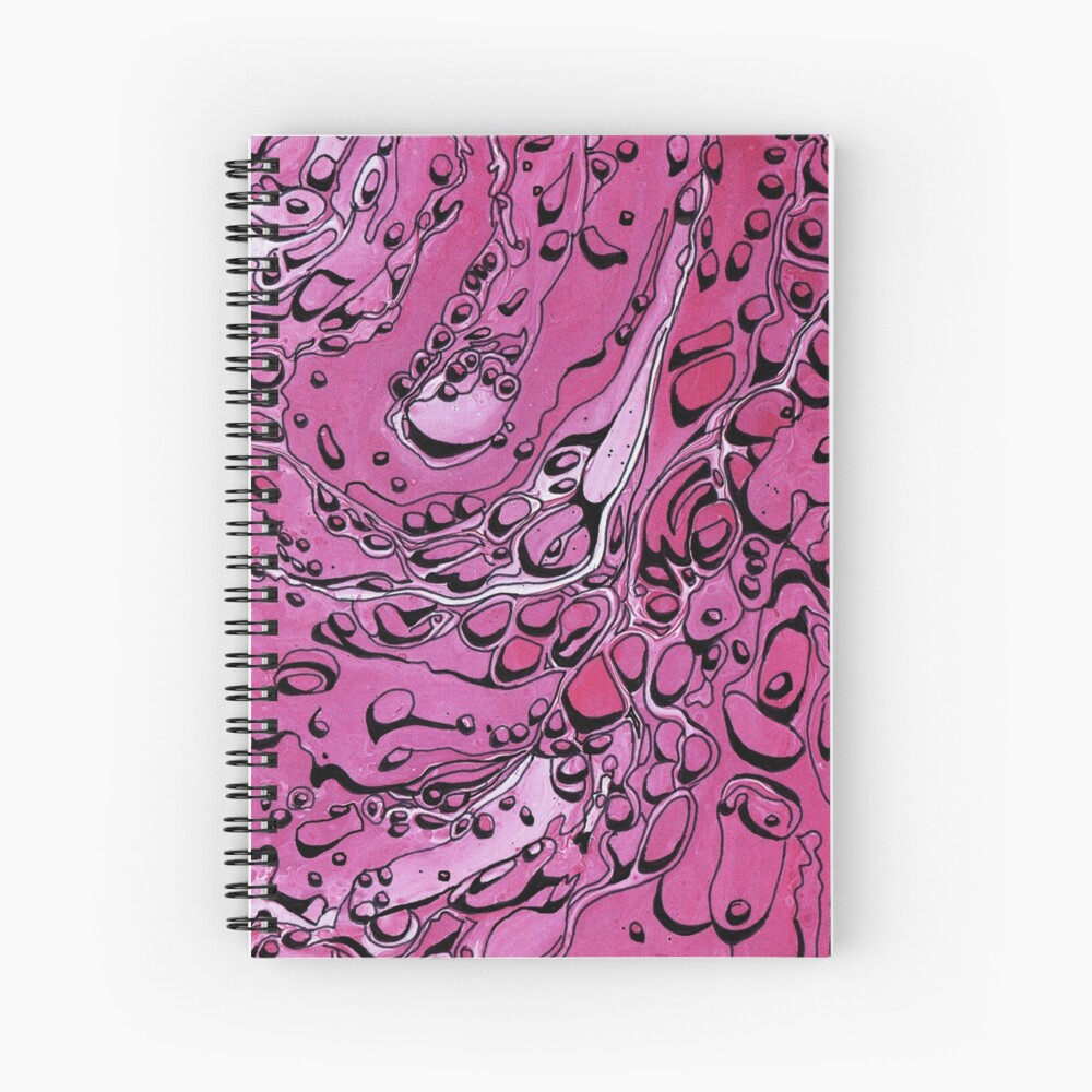 Pink - Paint Pour Print with Fineliner Pen Detail Spiral Notebook