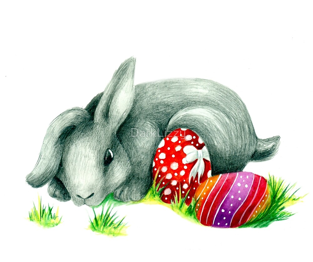 Easter bunny pencil drawing by DarkLizzy