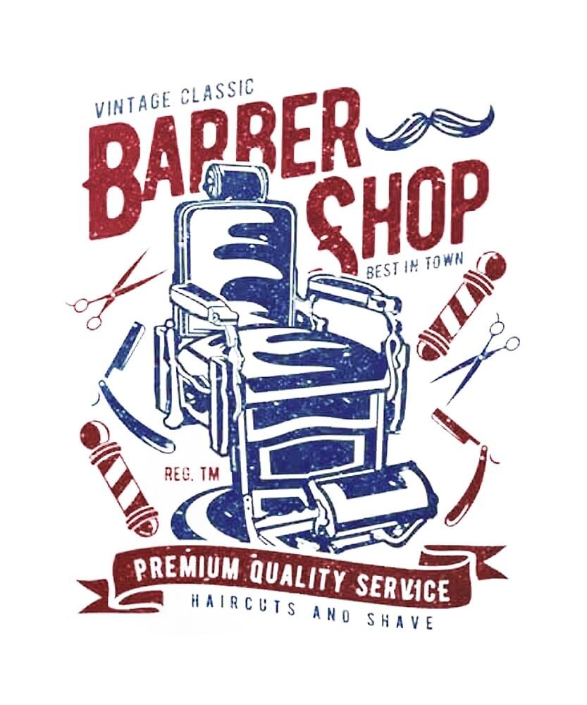 Barber Shop-Vintage Classic Barber Shop T-shirt by edinson753