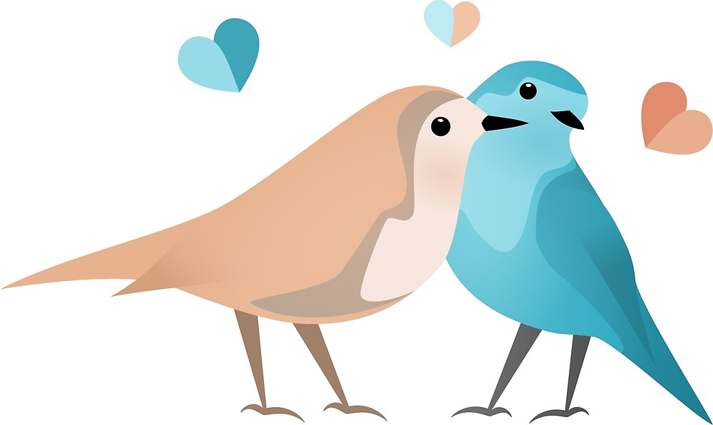 Cute Pink And Blue Birds Love by RavoNeo