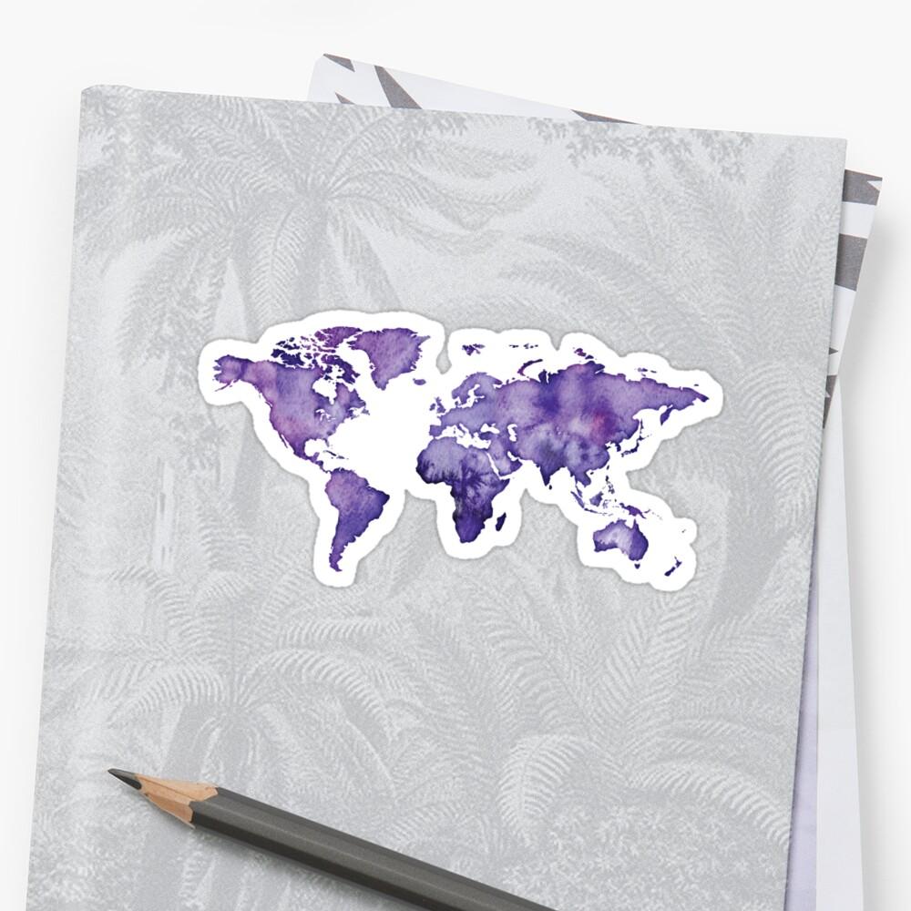 watercolor world map purple by PineLemon