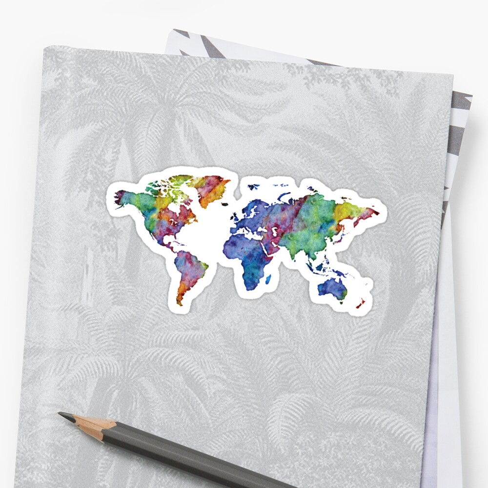 watercolor world map nature by PineLemon
