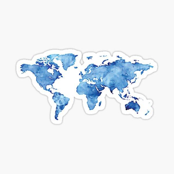 watercolor world map light blue Sticker