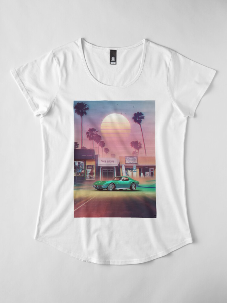 Vista alternativa de Camiseta premium para mujer Synthwave Sunset Drive