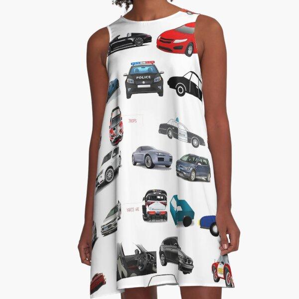 Car, vehicle, automobile, auto, motor car, motor vehicle, passenger car A-Line Dress