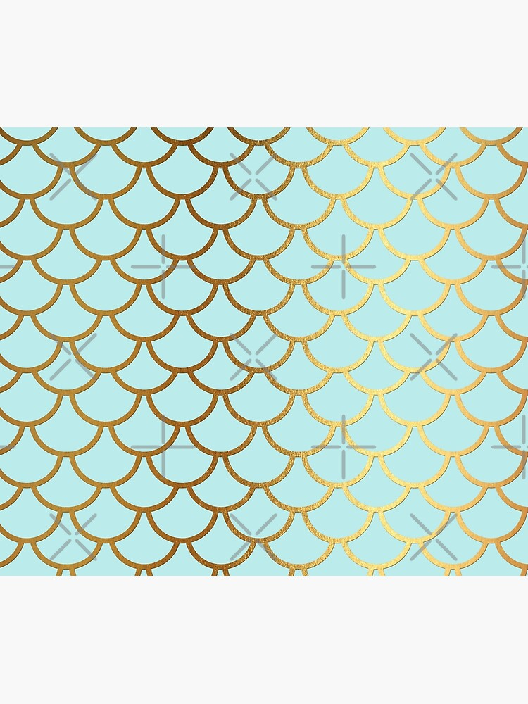 Turquoise Teal and Gold Glitter Mermaid Scales by UtArt