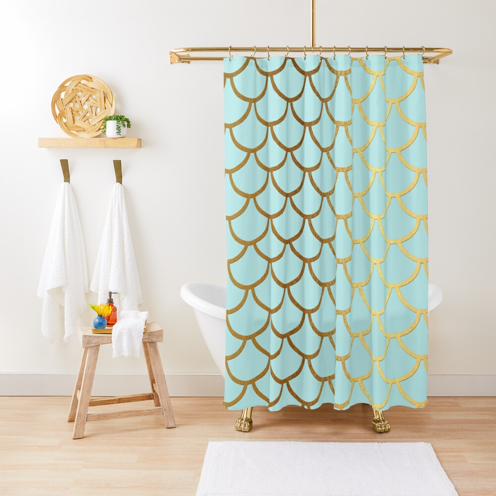 Turquoise Teal and Gold Glitter Mermaid Scales Shower Curtain