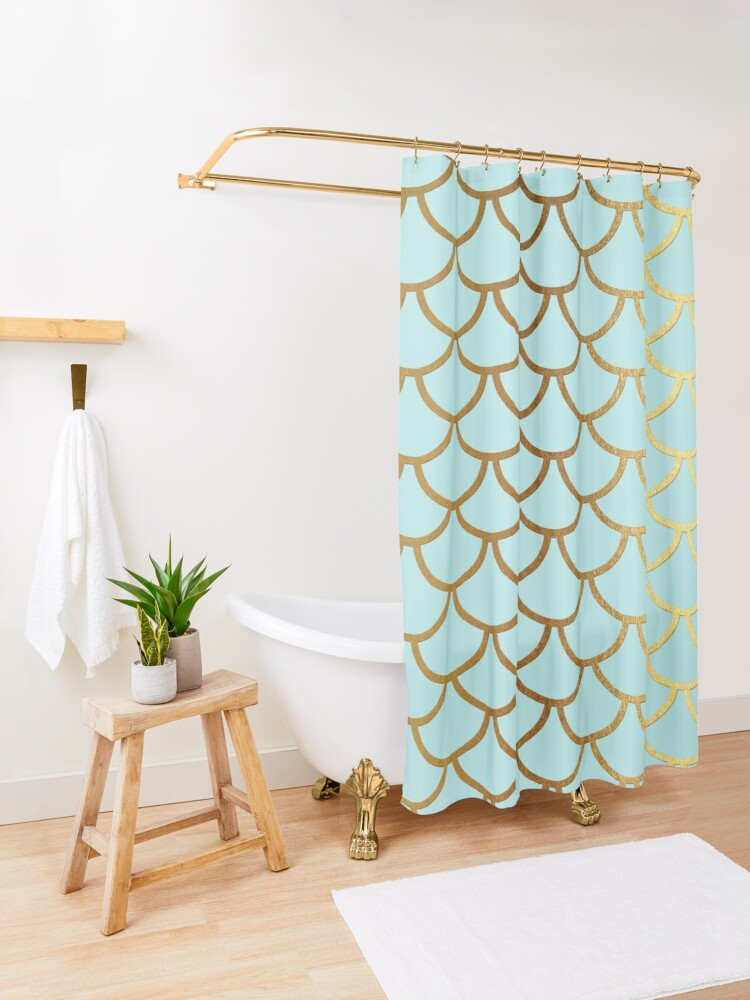 Alternate view of Turquoise Teal and Gold Glitter Mermaid Scales Shower Curtain