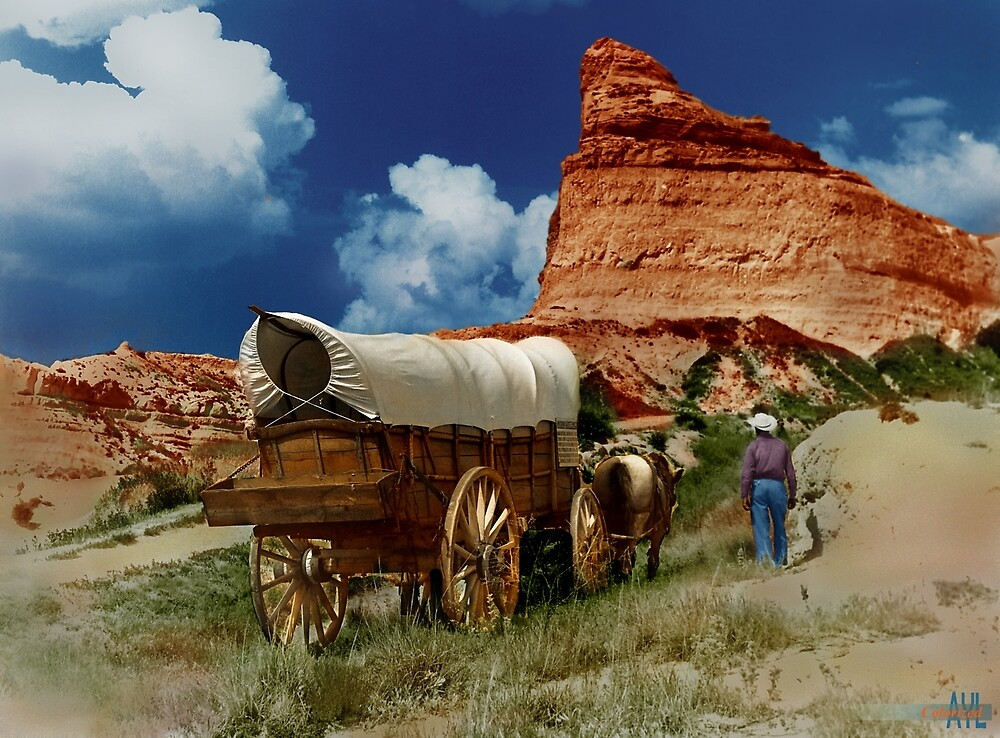 Conestoga wagon on the Oregon Trail, colorized re-enactment by lexmil