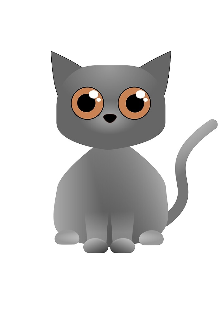Chartreux cat cute cartoon - by Matilda Lorentsson by M-Lorentsson