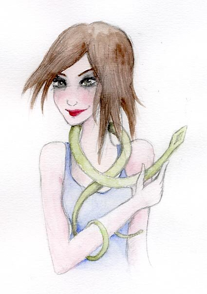 Girl with a pet snake by Ilokatz