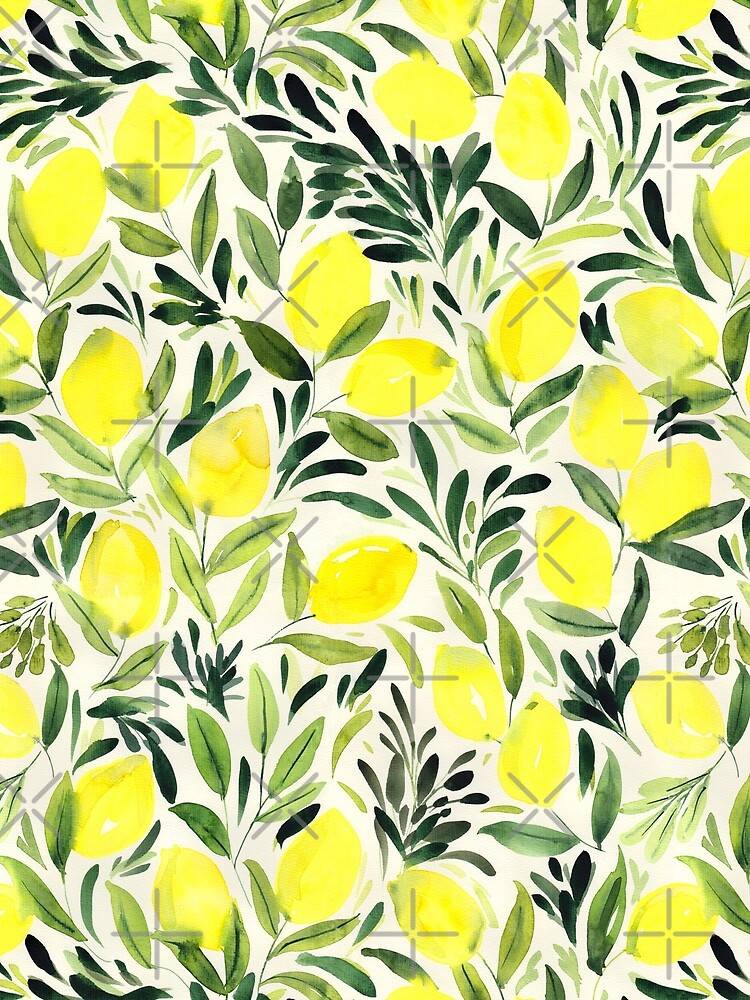Lemons watercolor on creme white by Nozzas