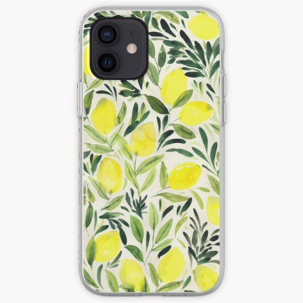 Lemons watercolor on creme white iPhone Soft Case