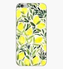 Lemons watercolor on creme white iPhone Case