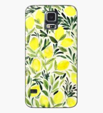 Lemons watercolor on creme white Case/Skin for Samsung Galaxy
