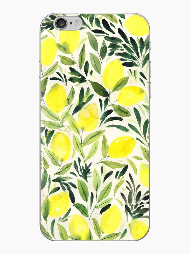 Lemons watercolor on creme white by Rebecca Reck Art
