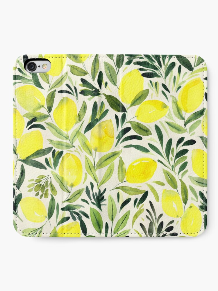 Alternate view of Lemons watercolor on creme white iPhone Wallet