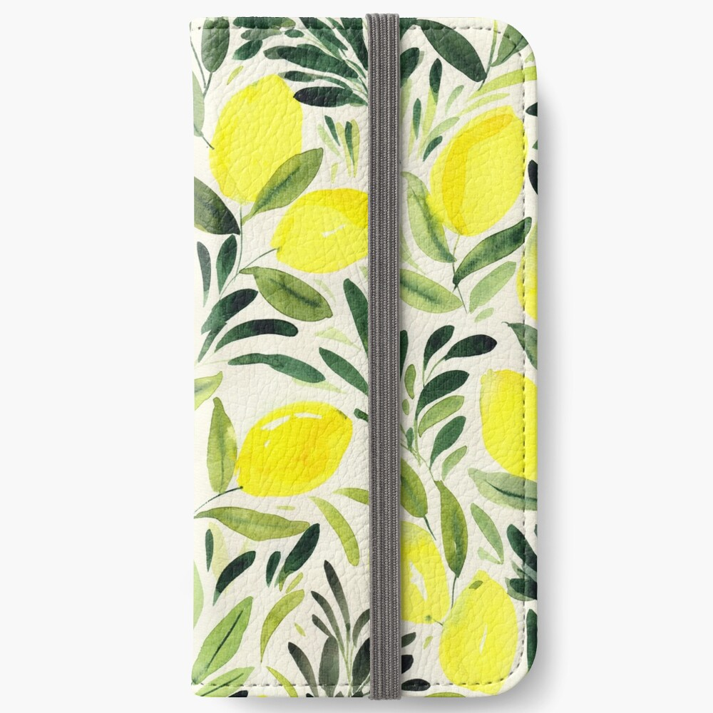 Lemons watercolor on creme white iPhone Wallet