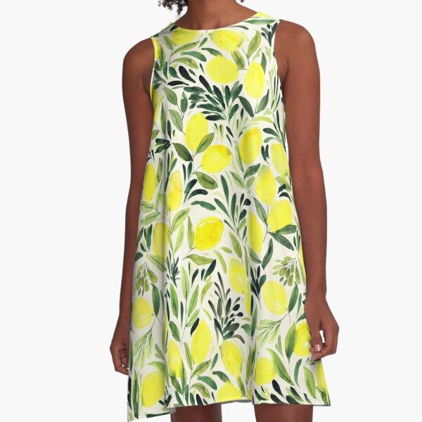 Lemons watercolor on creme white A-Line Dress