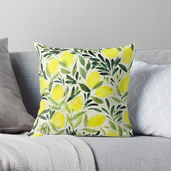 Lemons watercolor on creme white Throw Pillow