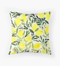 Lemons watercolor on creme white Throw Pillow
