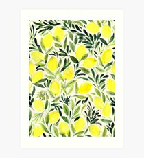 Lemons watercolor on creme white Art Print