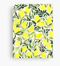 Lemons watercolor on creme white Canvas Print