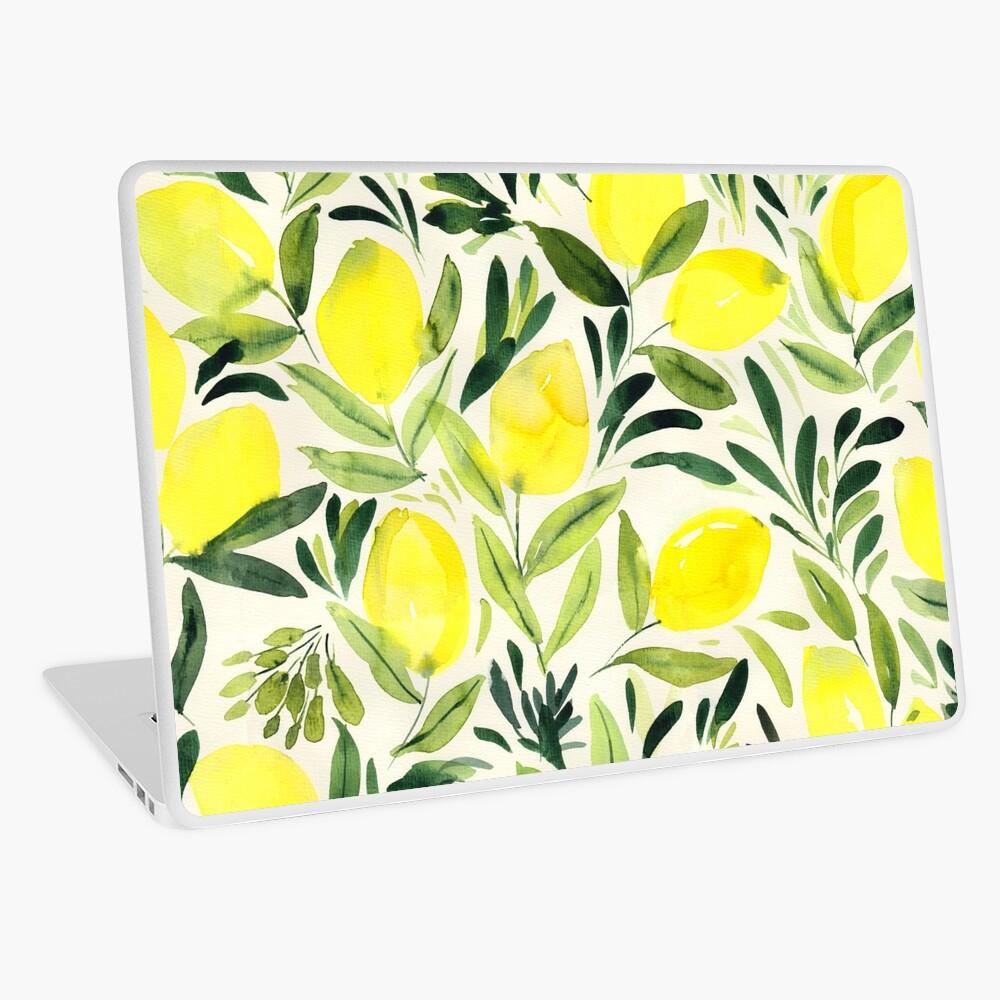 Lemons watercolor on creme white Laptop Skin