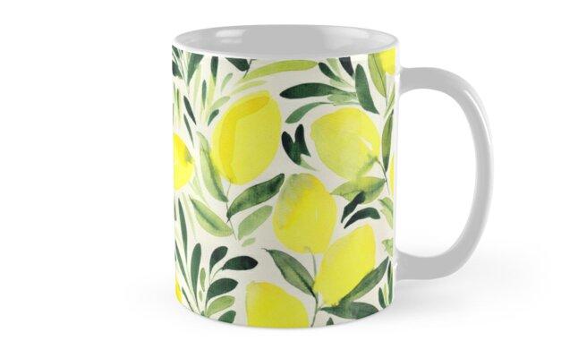 Lemons watercolor on creme white Classic Mugs