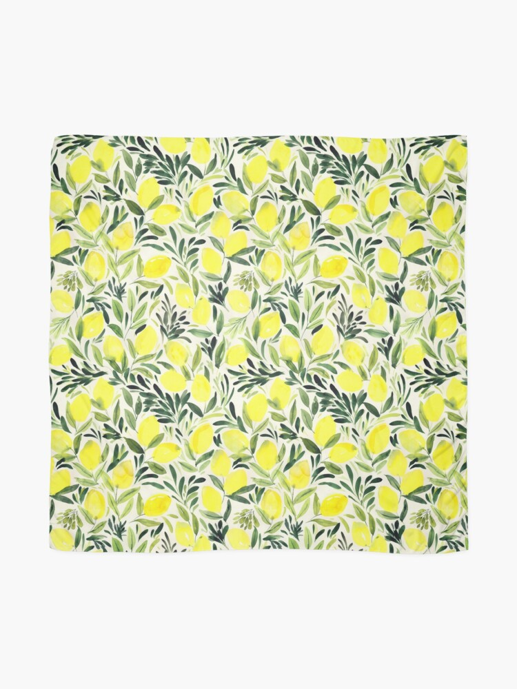 Alternate view of Lemons watercolor on creme white Scarf