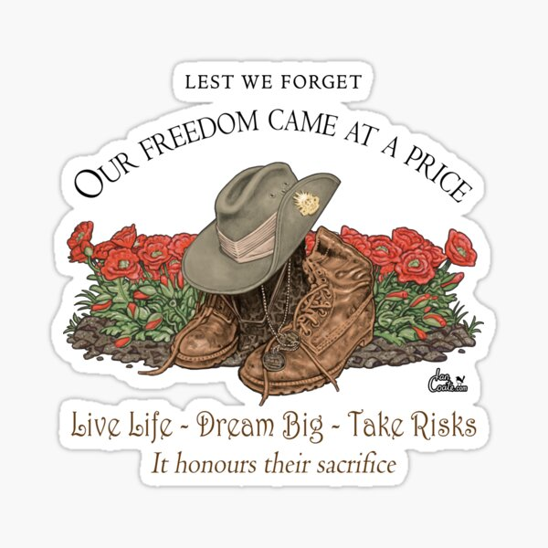 Slouch hat, boots and Poppies Sticker