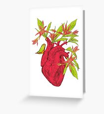 Human heart with flowers Greeting Card