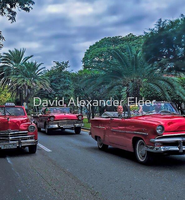 Classic Red American Cars in Havana, Cuba by David Alexander Elder