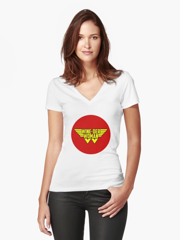 Wine-der Woman | I Love My Superhero  | Wine Lover Women's Fitted V-Neck T-Shirt Front