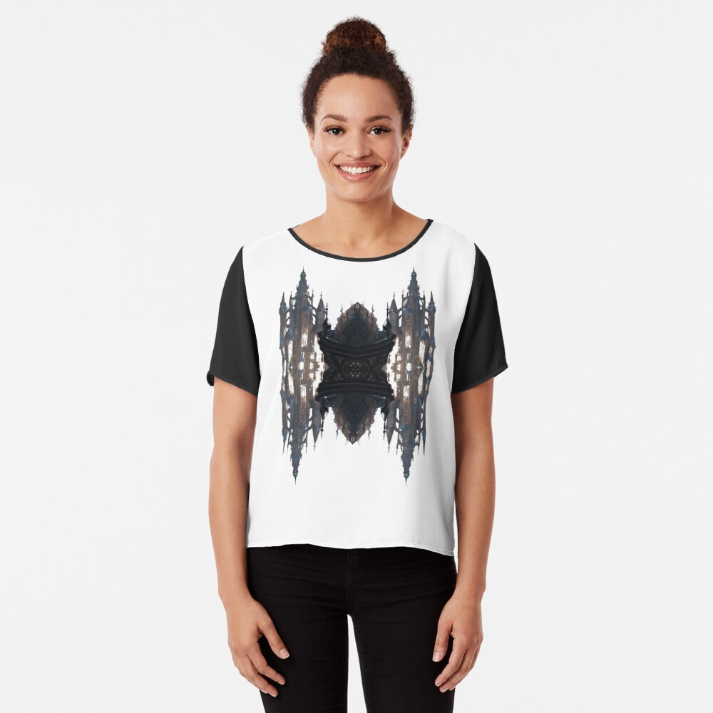 Fantastic air castle with elements of steampunk subculture Chiffon Top