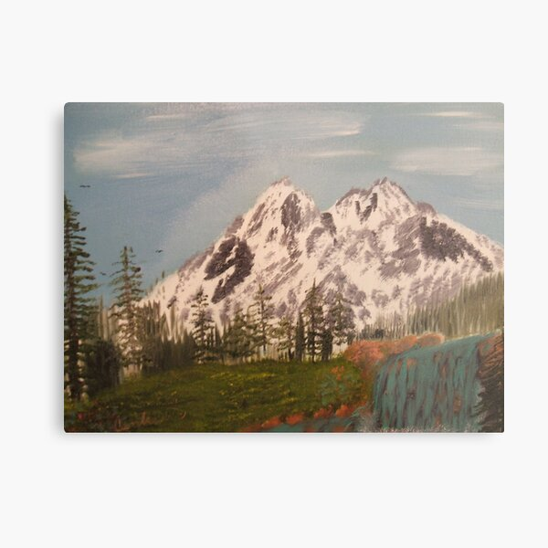 Mountain with Waterfall Metal Print
