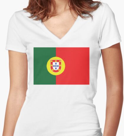 Portugal Portuguese Football National Team Flag • ID-A1 Women's Fitted V-Neck T-Shirt